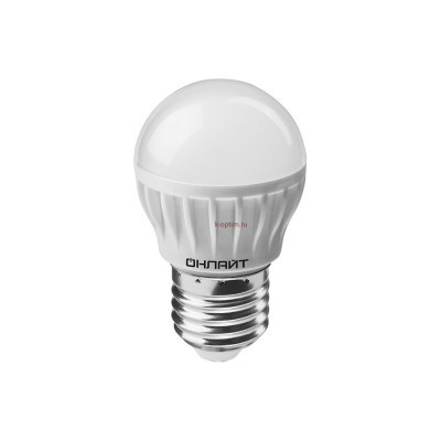Лампа светодиодная LED 8вт E27 белый матовый шар ОНЛАЙТ