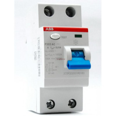 УЗО F202 A-16/0,01 Блок утечки тока 2-полюс. 16A 10mA, тип А ABB